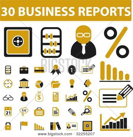 30 business report signs. vector