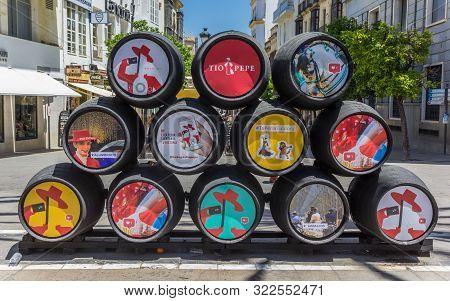 Jerez De La Frontera, Spain - May 15, 2019: Colorful Barrels In The Streets Of Jerez De La Frontera,