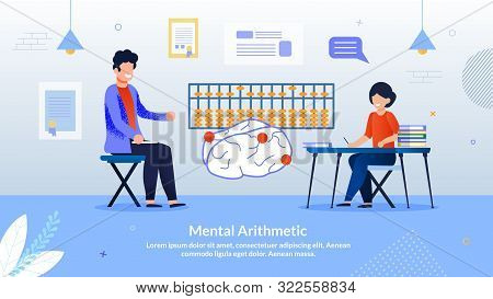Advertising Flyer Inscription Mental Arithmetic. Developing Courses Practice Elements Game Format. C