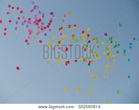 Many Colored Balls Fly To The Sky