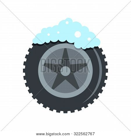 Wash Car Tire Icon. Flat Illustration Of Wash Car Tire Vector Icon For Web Design