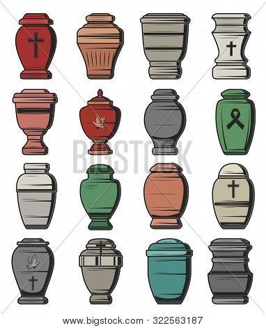 Cremation Urns Isolated Icons, Funeral Service And Burial Ceremony Organization Agency Symbols. Vect