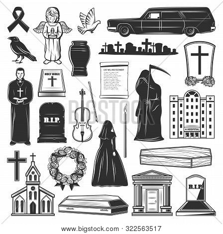 Funeral Icons And Symbols Of Grave Tombstone, Death And Coffin At Cemetery. Vector Church, Funeral H