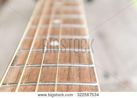 Acoustic Guitar Fingerboard.guitar Fretboard For Picking Lesson.the Guitar Is A Fretted Musical Inst