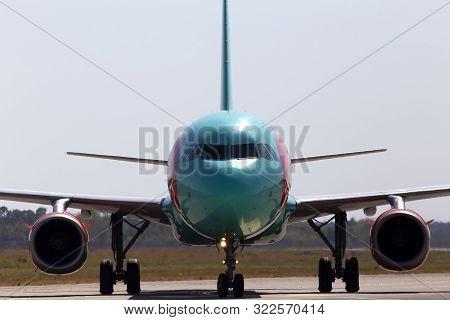 Borispol, Ukraine - September 10, 2019: Ur-wrj Wind Rose Aviation Airbus A321-200 Aircraft Running T