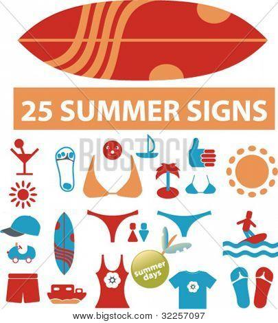 25 cute summer signs. vector