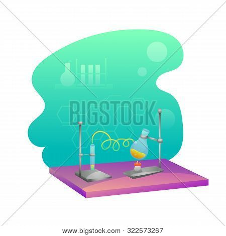 Chemistry Lab Flat Illustration. Laboratory Test, Research. Scientific Glassware Isolated Clipart. S