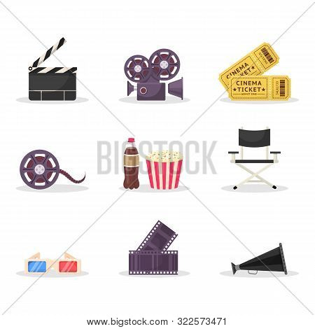 Cinematography Items Vector Illustrations Set. Movie Directing, Filmmaking. Cinema Ticket, 3d Glasse