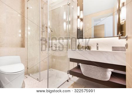 Clean and white bathroom with amenities in Thailand