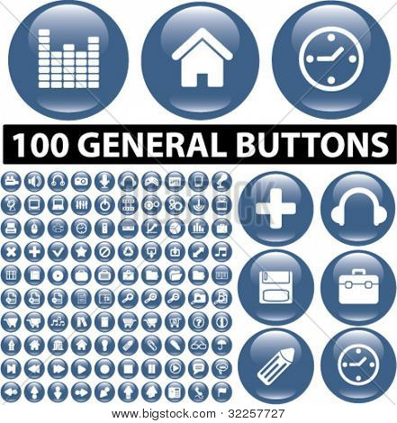 100 general buttons. vector