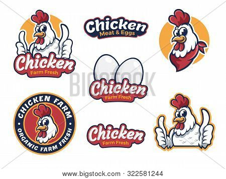 Set Chicken Label For Business Template Illustration. Chicken Mascot Logo Vector, Illustration Of Ch