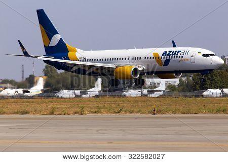 Borispol, Ukraine - September 10, 2019: Ur-aze Azur Air Ukraine Boeing 737-800 Aircraft Landing On T