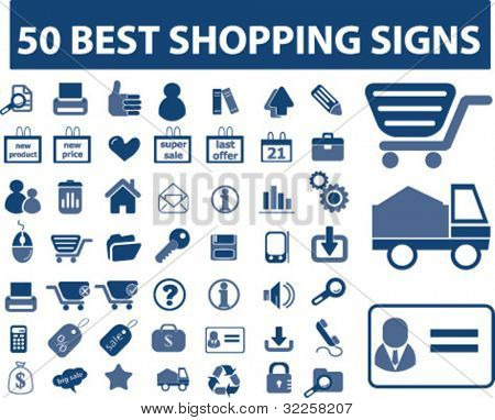 50 best shopping signs. vector