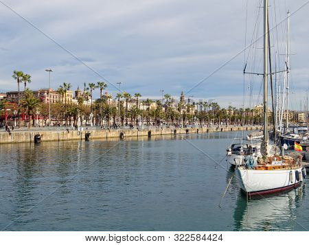 Yachts On Anchor In The Port Vell Marina - Barcelona, Catalonia, Spain, 29 March 2015