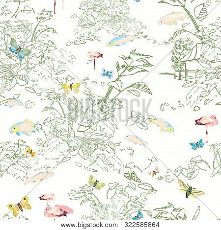 Etching Style Exotic Jungle Landscape Pattern. Botanical Leaf, Line Art Etching Style, In Pastel Gre
