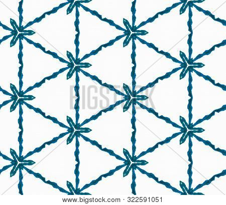 Blue Geometric Foliage Seamless Pattern. Hand Drawn Watercolor Ornament. Quaint Repeating Tile. Radi