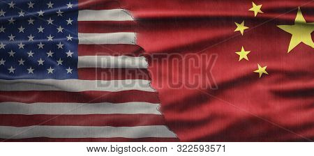 Political Relationships. American And Chinese Flag Divided Diagonally. Partnership And Conflicts.