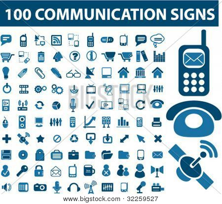 100 signes de communication. Vector