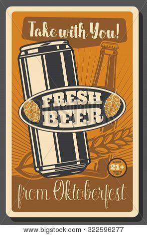 Beer Festival, Oktoberfest Brewery Fest, Beer Pub. Vector Traditional Oktoberfest Holiday Beerhouse