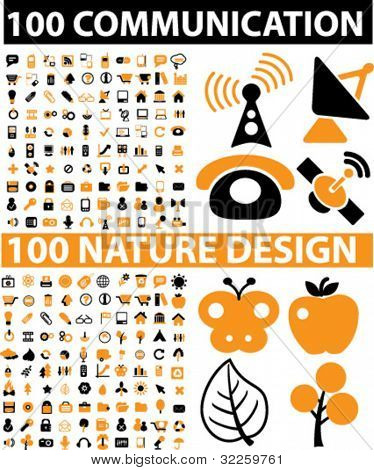 200 vector signs - communication & nature design signs. vector