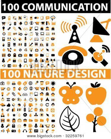200 Vektor Zeichen Kommunikation & Natur-Design-Schilder. Vektor