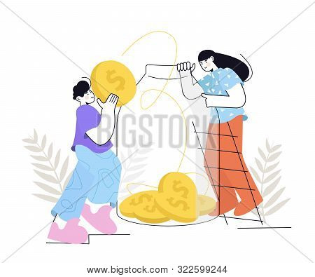 People Saves Money. Man and woman put gold coins in a glass jar. Saving dollar coin in moneybox. Growth, income, savings, investment. Symbol of wealth. Cash Savings. poster