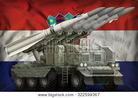 Tactical Short Range Ballistic Missile With Arctic Camouflage On The Croatia Flag Background. 3d Ill