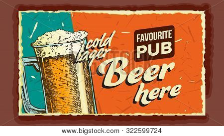 Cold Lager Beer Glass Advertising Banner Vector. Full Cup With Ice Alcoholic Liquid Beer On Promotio