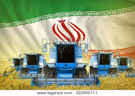 Some Blue Farming Combine Harvesters On Wheat Field With Iran Flag Background - Front View, Stop Sta