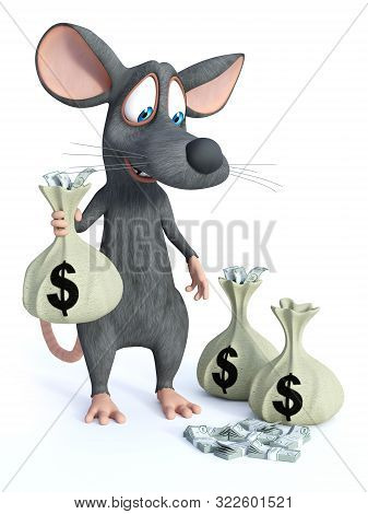 3d Rendering Of A Cute Smiling Cartoon Mouse Standing And Holding A Money Bag In His Hand And Lookin