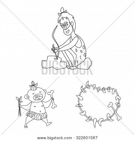 Vector Design Of Primitive And Archeology Sign. Collection Of Primitive And History Stock Symbol For