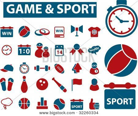 super game & sport signs. vector