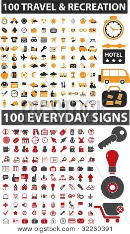 200 travel & everyday signs. vector