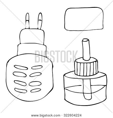 Hand Drawing Sketch Electric Fumigator With A Bottle Of Poisonous Liquid With A Rod And A Plate Agai