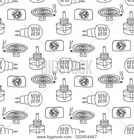 Seamless Pattern Of Electric Fumigator With A Bottle And A Plate Against Mosquitoes. Anti-mosquito H