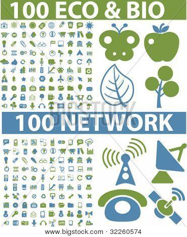 200 eco & bio & network signs. vector