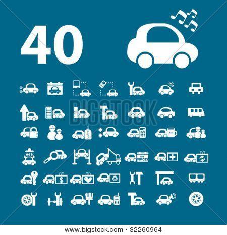 40 car signs. vector