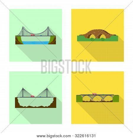 Vector Design Of Bridgework And Bridge Symbol. Set Of Bridgework And Landmark Stock Symbol For Web.