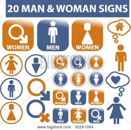 20 man & woman signs, icons, vector illustrations
