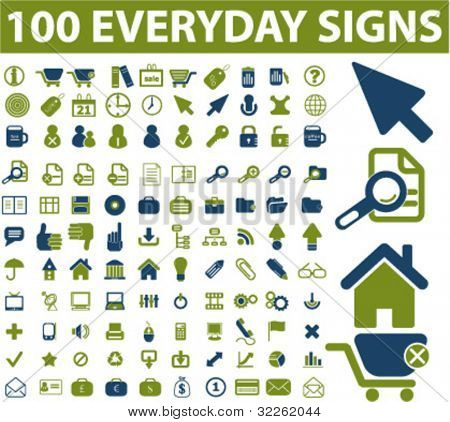 100 everyday business, website, office icons, vector