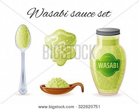 Wasabi Asian Sauce. Bowl, Sauce Bottle, Spoon, Splash. Food Icon Set With Logo Label Package, Mock U