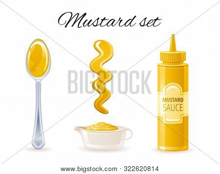 Mustard Sauce. Hot American Mustard Sauce Bottle, Bowl, Spoon, Splash. Food Icon Set With Logo Label