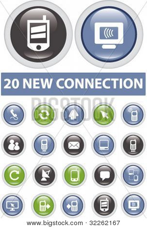20 new connection buttons, icons, signs, vector illustrations
