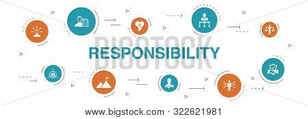 Responsibility Infographic 10 Steps Circle Design. Delegation, Honesty, Reliability, Trust Icons
