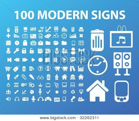 100 modern office, business, icons, signs, vector illustrations