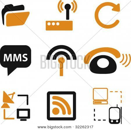 web communication icons, signs, vector illustrations