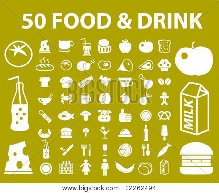 50 natural food & drink icons, signs, vector illustrations