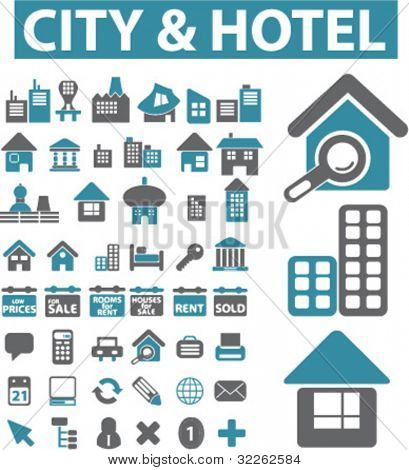 city & hotel icons, signs, vector illustrations