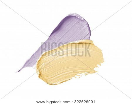Color Corrector Strokes Isolated On White Background. Yellow And Lilac Color Correcting Cream Concea