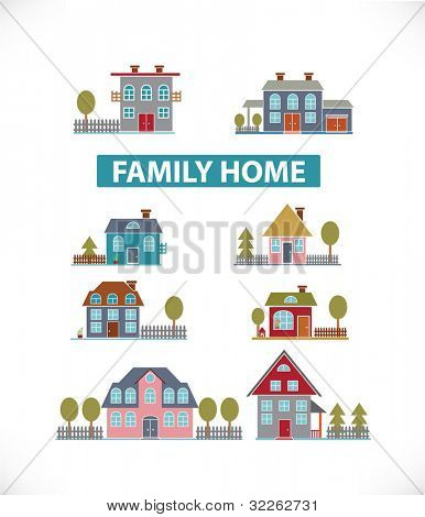 family home icons, signs, vector illustrations